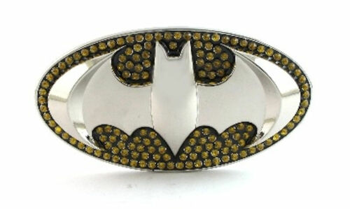 SUPER HERO BATMAN LOGO BLING BELT BUCKLE DC BAT MAN SNAP BELT JUSTICE LEAGUE