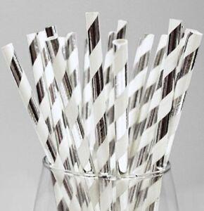 250-Paper-Straws-8-034-20cm-Silver-amp-White-Biodegradable-Eco-Friendly-Compostable