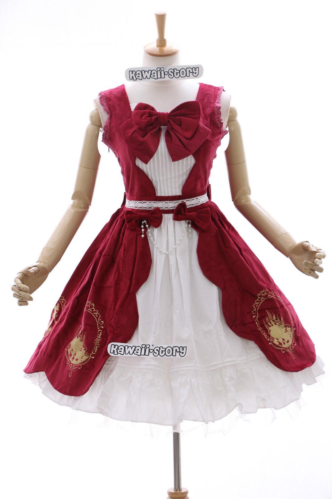 JL-555 Classic Stretch Samt rot Gothic Lolita Kleid dress Cosplay costume Gold