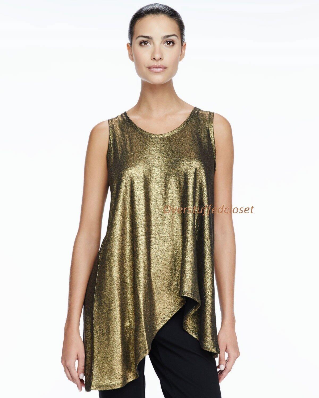 Eileen Fisher Soft V-Neck Long Asymmetric Hem Shell Top schwarz Gold SMALL