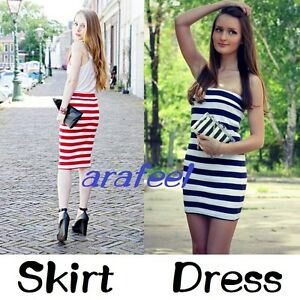 Details about Stripe white TUBE TOP dress BodyCon LONG SKIRT marine look  SAILOR sexy hot beach