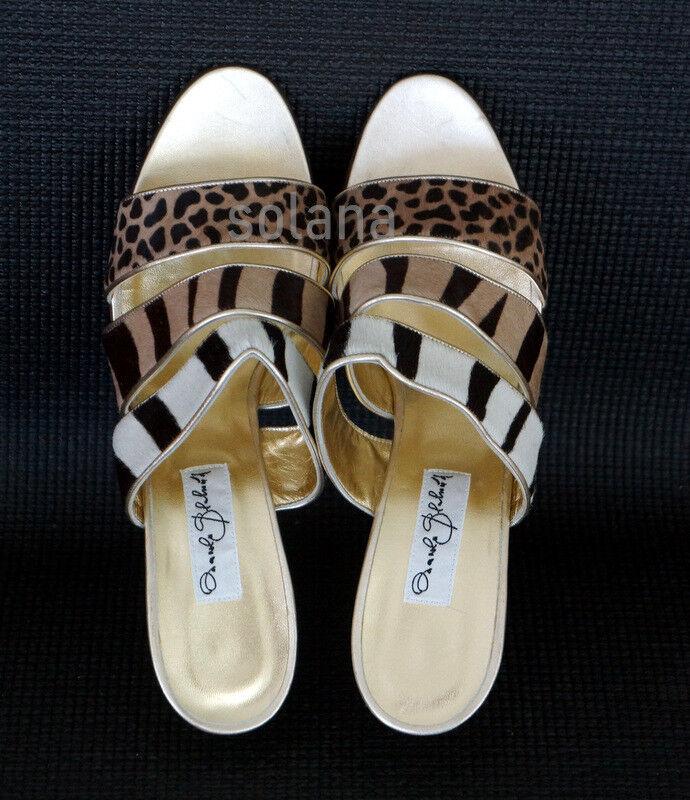 MANOLO BLAHNIK Animal-Print Calf Hair Sandals Sandals Sandals Slides Gold Pumps New 11.5 2b1dd8