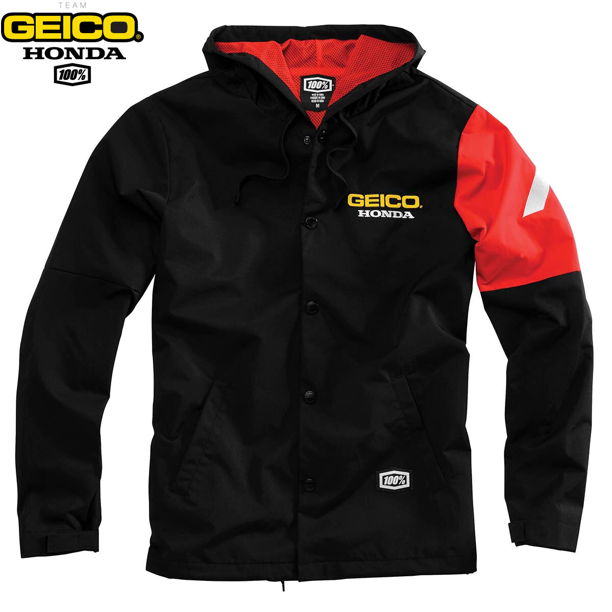 Geico Honda men Flux Giacca con Cappuccio black red Giacca 100% Motocross MX