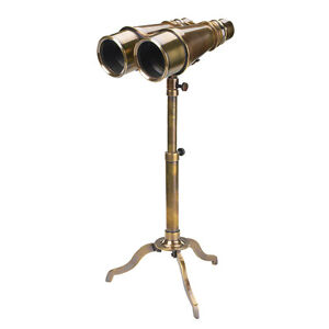 Victorian-Binoculars-Solid-Brass-w-Tripod-6-5-034-Antiqued-Bronze-Finish-Nautical