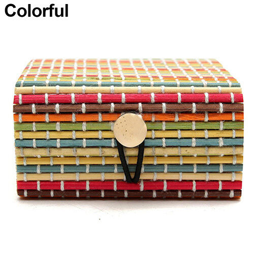 AC/_ Ring Necklace Bamboo Wooden Case Jewelry Storage Boxes Holder Gift Novelty