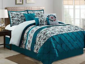 7-Pc-Dally-Floral-Paisley-Diamond-Embroidery-Comforter-Set-Teal-Blue-Gray-King
