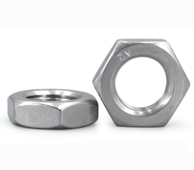 2pcs M12 x 1.0mm Pitch A2 STAINLESS STEEL FINE PITCH HEXAGON HALF LOCK NUTS HEX THIN NUT DIN 439