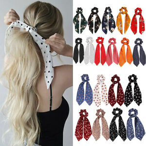Ribbon-Hair-Band-Ponytail-Scarf-Floral-Bow-Scrunchie-Hair-Bow-Ties-Hair-Rope