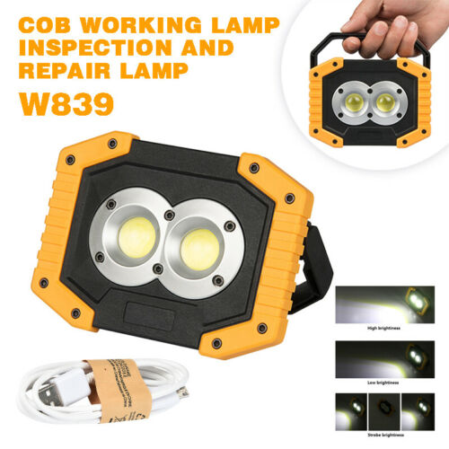 Portable COB Work Light Outdoor Camping Lighting USB Rechargeable Lamp new