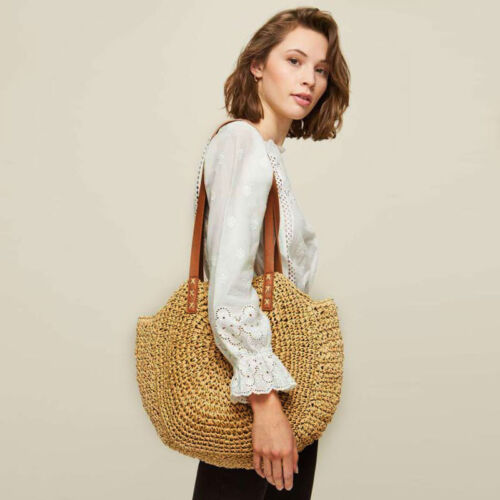 Damen Handtasche Strohsack Runden Women Einzelne Schulter Reise Strandtasche NUE
