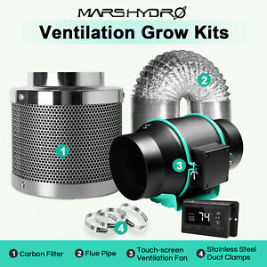 Mars Hydro 4'' 6'' Inline Ventilation Fan Kits Ducting Carbon Filter Grow Tent