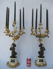 PAIR ANTIQUE FRENCH EMPIRE BRONZE D'ORE ORMOLU MARBLE CHERUB 5 BRANCH CANDELABRA