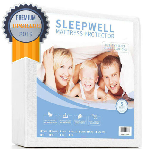 Cotton Terry Mattress Protector 100/% Waterproof Breathable Vinyl Free Cover New
