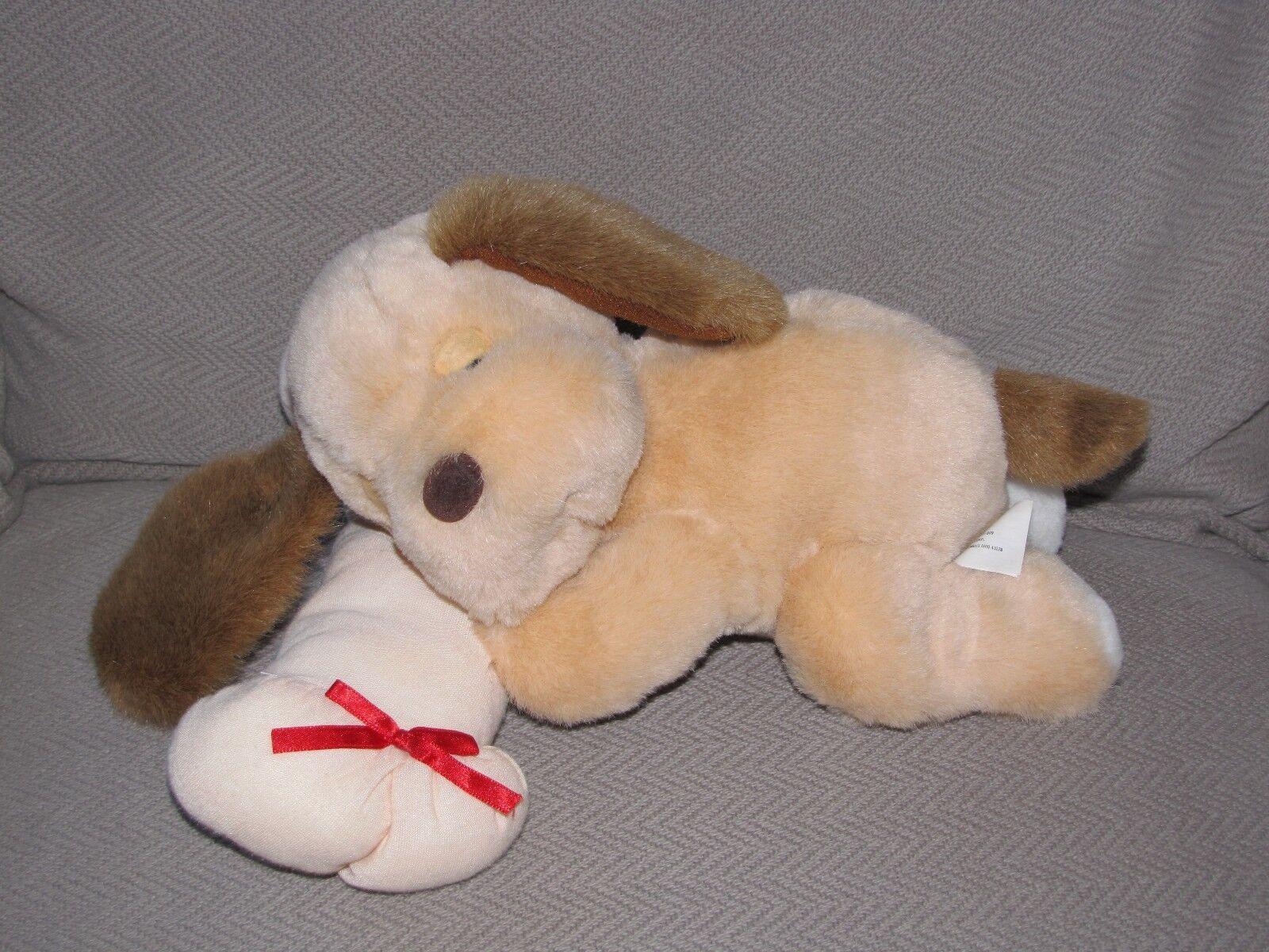 GREAT AMERICAN FUN CORP GAF STUFFED PLUSH PUPPY DOG braun BEIGE TAN SNORE BONE