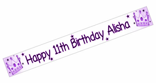 PERSONALISED BANNERS NAME AGE PHOTO BIRTHDAY PARTY Crown purple 15th 16th 7th S2