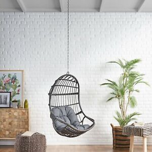 Ottawa Outdoor Wicker Hanging Nest, Hanging Egg Chair Outdoor No Stand