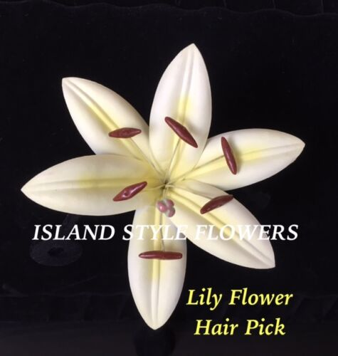 Foam Lily Flower PinUp Girl Wedding Hair Pick White with Yellow