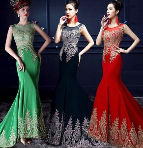 Detalles De Vestido De Fiesta Y Baile Dama Honor Largo Rojo Negro Bc259