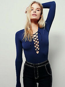 fbd4b67192 NEW Free People Intimately Lace Up Layering Top in Blue Size XS S ...