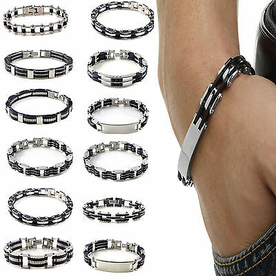 "8.5"" Men's Bracelet Stainless Steel Black Rubber Cuff Bangle Hand Chain Newly"