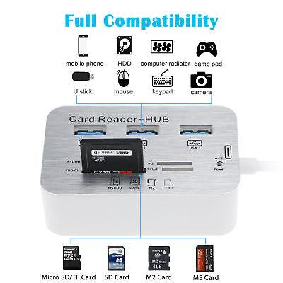 Aluminum 3 Port USB 3.0 Hub MS SD M2 TF Multi-In-1 Memory Card Reader Adapter US