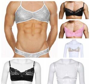 4c0161d2e9895 Sexy Men s Sissy Pouch Sequin Lace Underwear Bra Top Lingerie Thongs ...