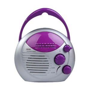SAYIN-AM-FM-Radio-Shower-Waterproof-Radio-for-Bathroom-Hanging-Purple-Mus-V9E3