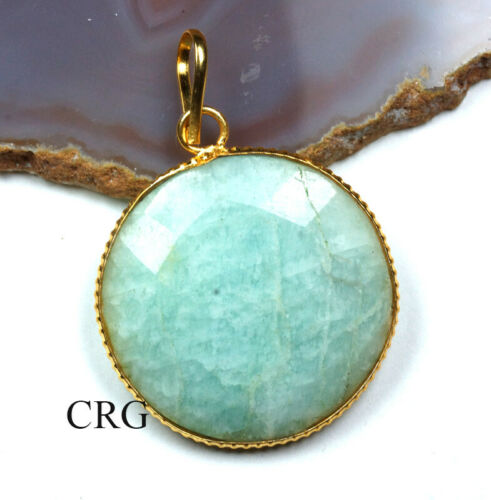 Gold Plated Faceted Round Amazonite Pendant FC68DG