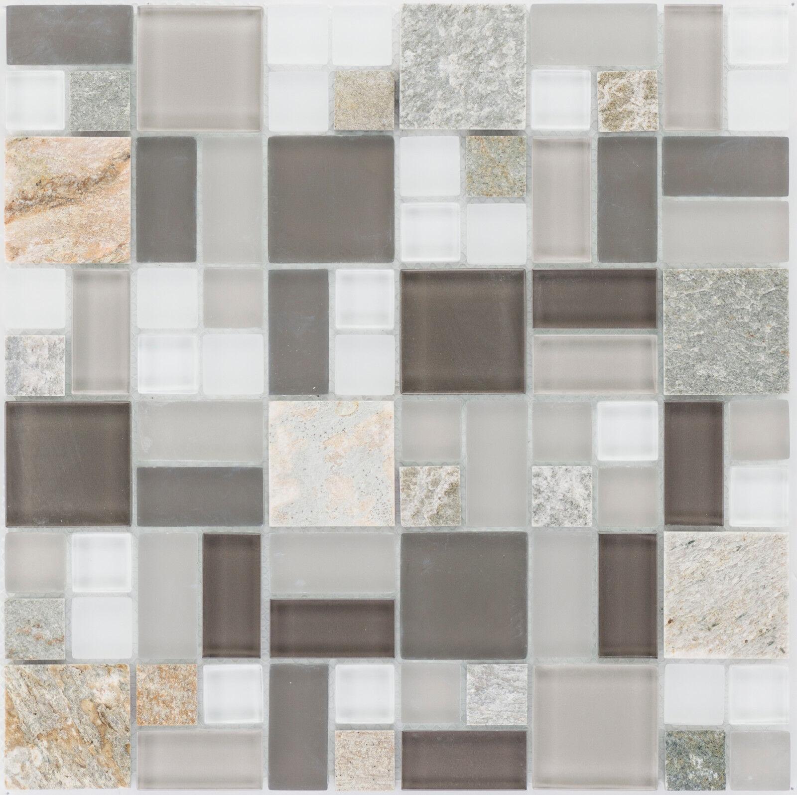 Naturstein Glasmosaik Quarzit Grau Wand Fliesenspiegel   10Matten ES-66193_f
