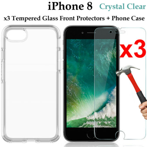 x3 Apple iPhone 8 9H tempered glass front screen protector and clear case cover