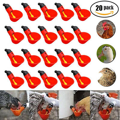 4Pcs Poultry Water Three Way Drinking Cups-Chicken Hen Plastic Automatic Drinker