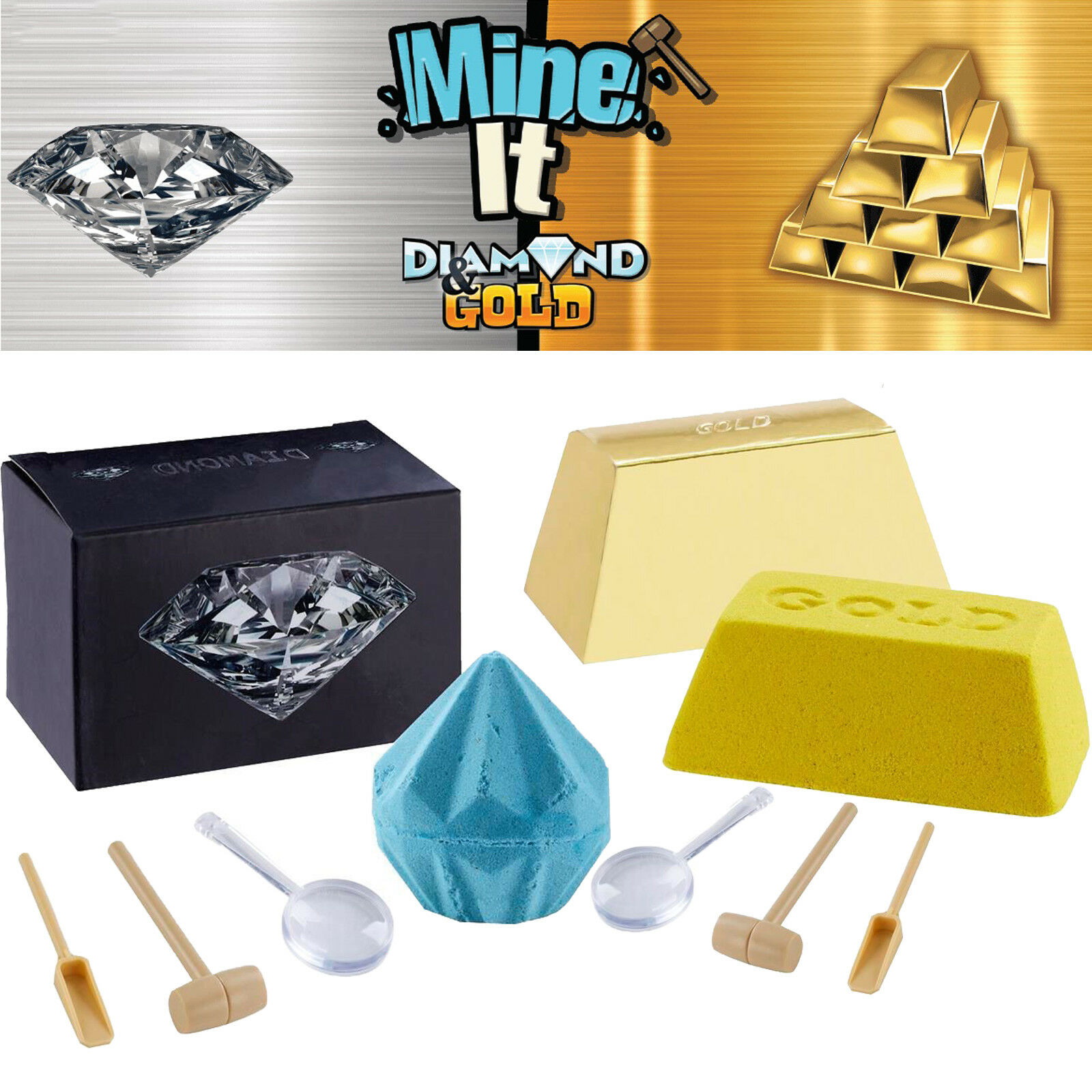 Kids Toy Play Game Mine It Gold Diamond Box 1 In 24 Has Real Gold /& Diamond