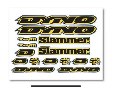 Dyno Air 1994 Decal Set Stickers Old school BMX restauration chrome jaune fluo