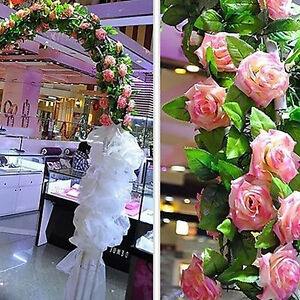 Eg-Kuenstlich-Gefaelschte-Seide-Rose-Blume-Efeu-Rebe-Wandbehang-Girlande