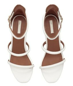 cf90d15a3 NWB H M WOMENS WHITE LEATHER OPEN TOE STRAPPY SANDAL SHOE SIZE 8.5 ...