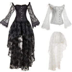 women's gothic steampunk corset dress lace up costume