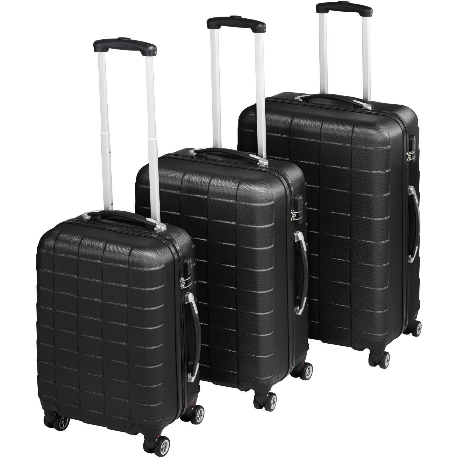 Set di 3 bagagli da viaggio 4 RUOTE 360 ° CARRELLI VALIGIA ABS Borsa Rigida Nero