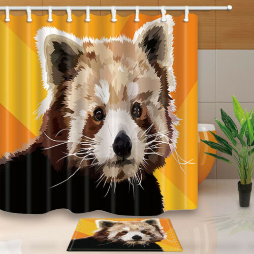 Lovely Red Panda in the Oil Painting Bathroom Fabric Shower Curtain Set 71Inch