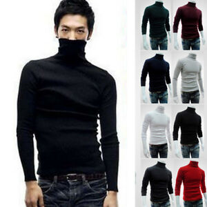 Winter-Men-Slim-Warm-Cotton-High-Neck-Pullover-Jumper-Sweater-Top-Turtleneck