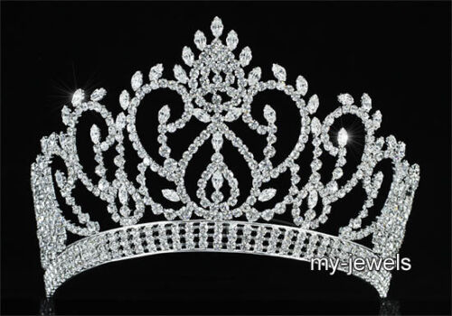 Pageant Crown for Beauty Contest Wedding Silver Tiara Full Circle Round  T1794