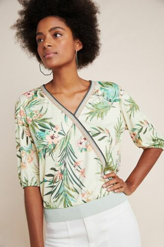 Jacquie Lace-Sleeved Top Anthropologie Botanique Surplice Top