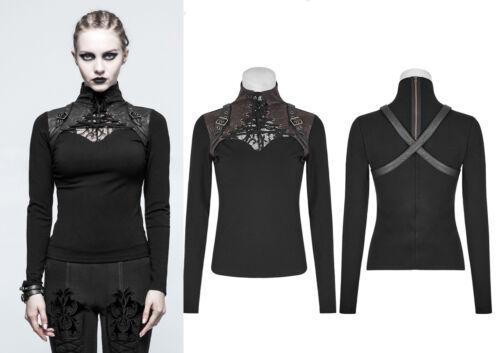 Punk Rave Shirt Top T-Shirt Stripes Steampunk Gothic Harness schwarz braun T-476