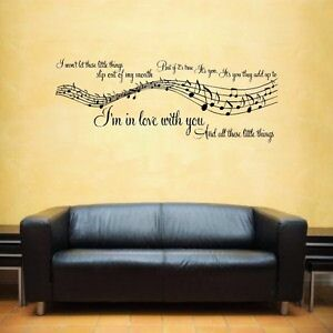 Details About 1d One Direction Little Things Music Song Lyrics Notes Sticker Wall Art Lswa5010