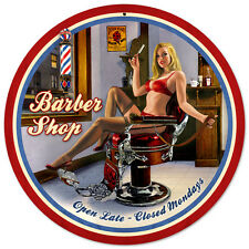 Shave & Haircut SHAPED Hildebrandt Metal Sign PINUP Sexy Barber Shop Art SIGNED