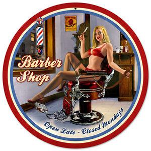 Shave-amp-Haircut-SHAPED-Hildebrandt-Metal-Sign-PINUP-Sexy-Barber-Shop-Art-SIGNED