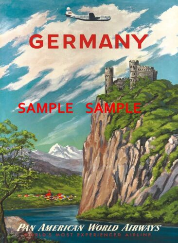 """Pan American Air Lines 8.5/"""" X 11/""""  Travel Poster GERMANY"""