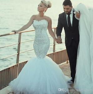 Gorgeous Lace Wedding Dress Detachable Train Beaded Crystal Mermaid ...