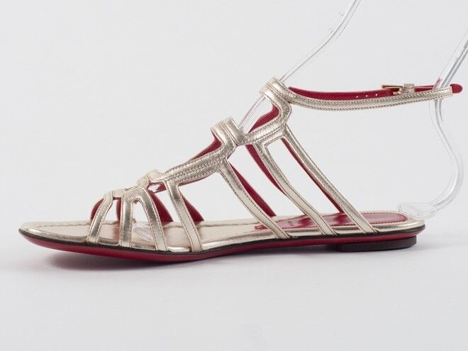 New Cesare Paciotti Paciotti Paciotti oro Leather Sandals Dimensione 39 US 9 16768f