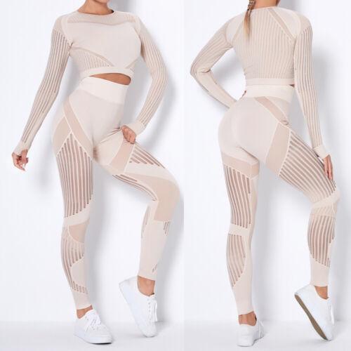 Gym Set Long Sleeve Shirts+Seamless Workout Leggings Womens Yoga Sports Suit