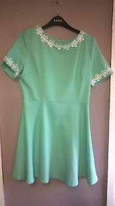 Ax-Paris-Mint-Green-White-Floral-Embroidery-Trim-Skater-Dress-Size-12